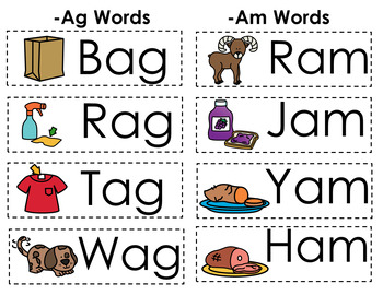CVC Word Family Punch Activity: Ag and Am Words.