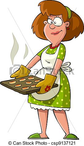 Vector Clip Art of Housewife with hot cakes on the trays vector.