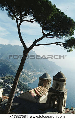 Stock Photo of Italy, Amalfi coast, Ravello, tree and church.