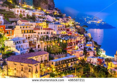 Night View Positano Village Amalfi Coast Stock Photo 283645607.