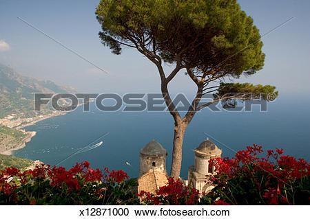 Stock Photography of Italy, Campania, Ravello, Amalfi Coast scenic.