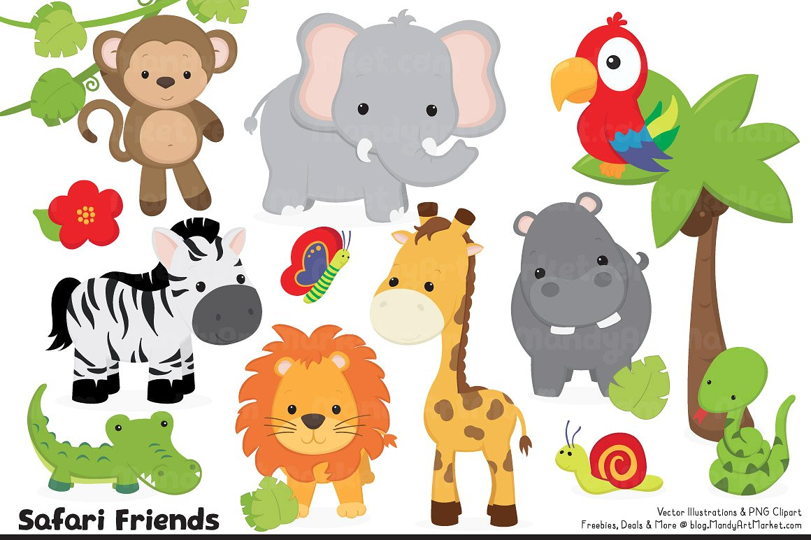 Cute Safari Animal Clipart.