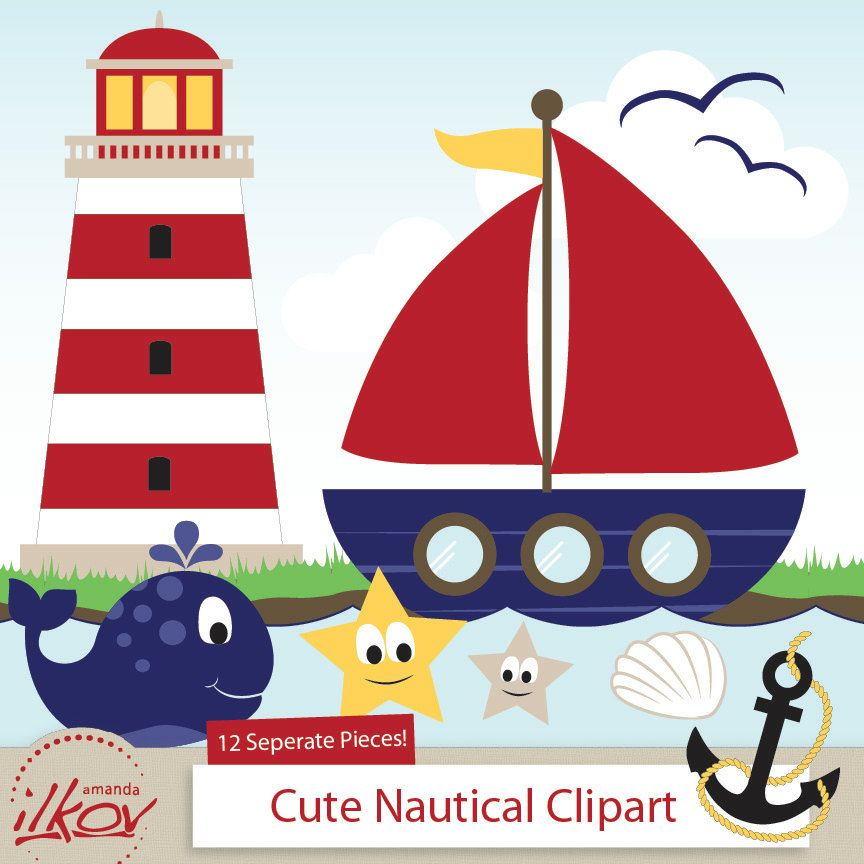 Professional Cute Nautical Clipart for Digital Scrapbooking.