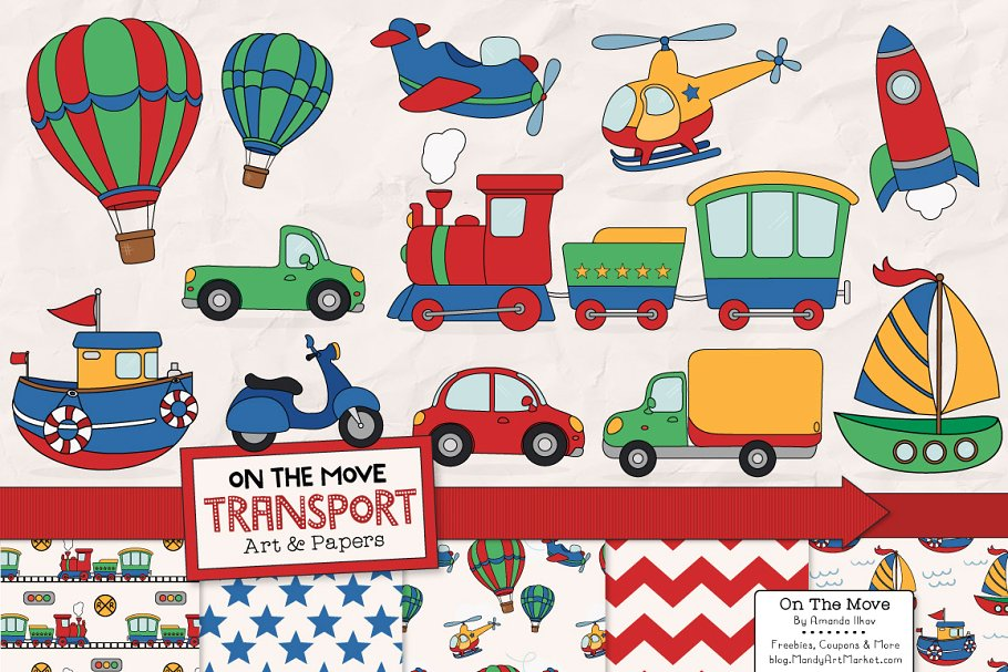 Transportation Clipart & Patterns.