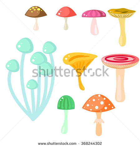 Isolated Cartoon Mushrooms Vector On White. Fungus, Amanita.