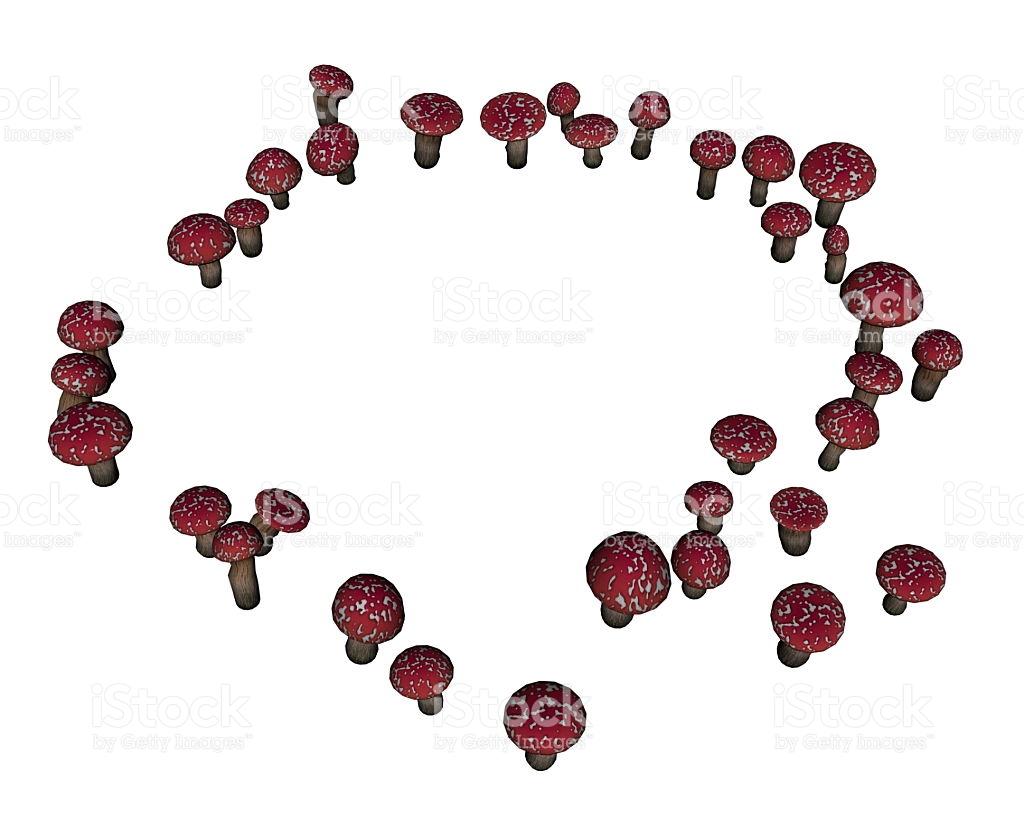 Red Amanita Muscaria Mushrooms 3d Render stock vector art.