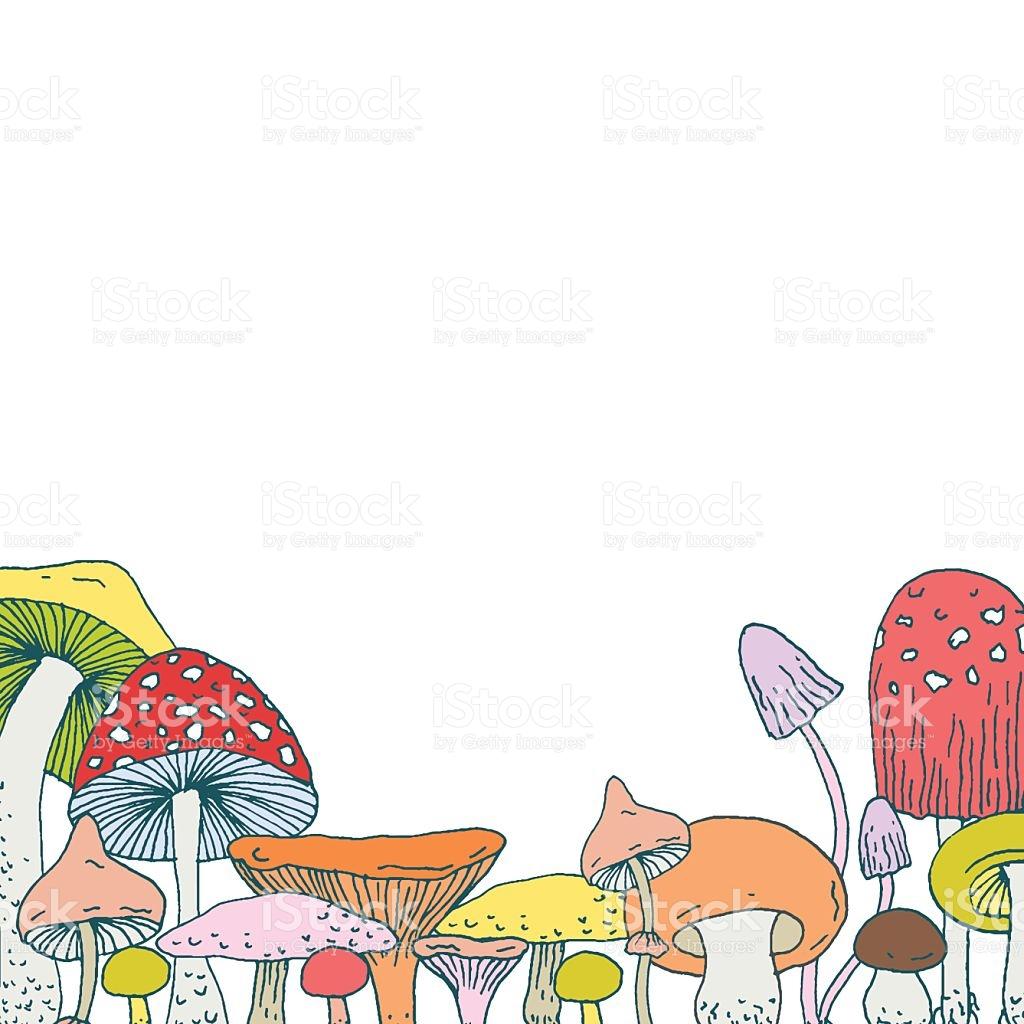 Decorative Frame Design With Decorative Forest Mushrooms stock.