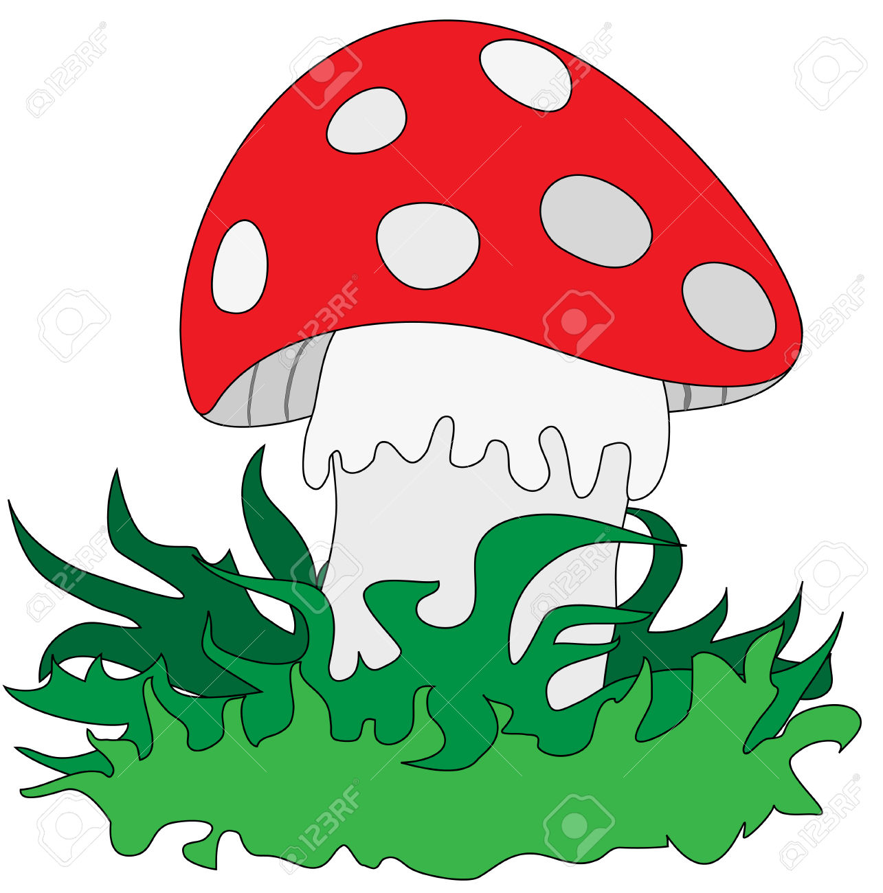 Amanita In The Grass On A White Background Royalty Free Cliparts.
