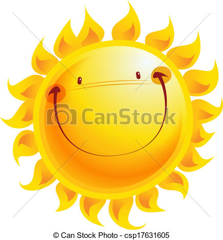 Vector Clipart of Happy yellow smiling sun cartoon character.