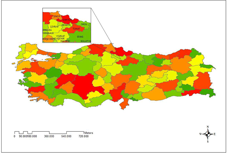 Relationship between Population and Agricultural Land in Amasya.