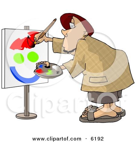 Amateur Caricaturist Practising His Painting Skills Clipart.