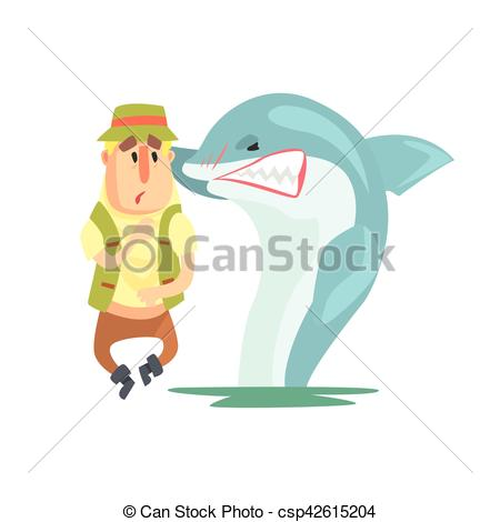 Vector Clipart of Scared Amateur Fisherman In Khaki Clothes.