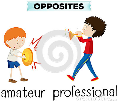 Opposite Words For Amateur And Professional Stock Vector.