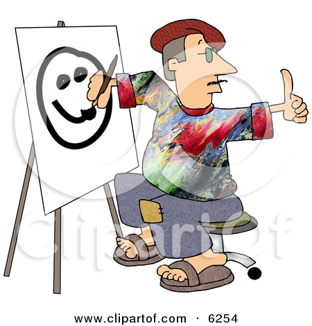 Lineart Clipart of a Cartoon Black and White Chubby Worker Man.