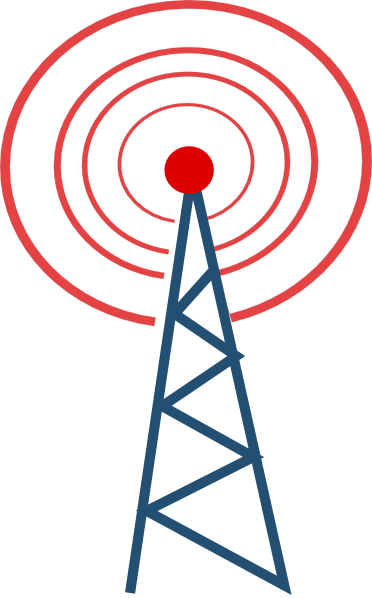 Vector Radio Tower Broadcast Clipart.