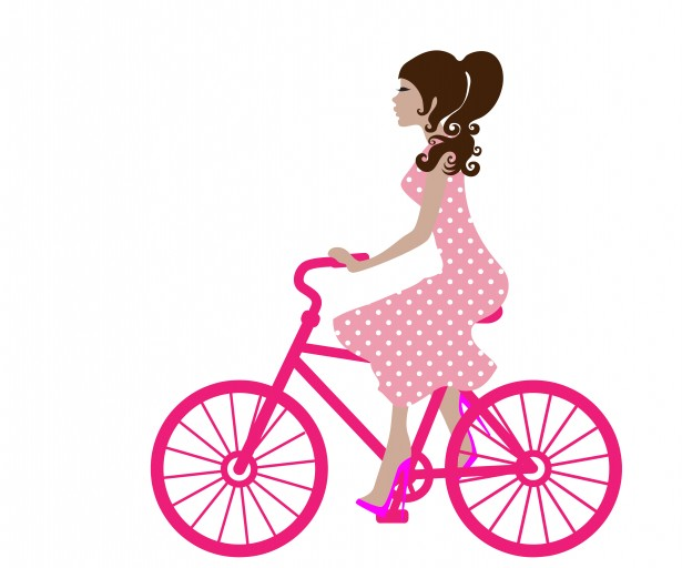 Girl On Bike Clipart #public domain image.