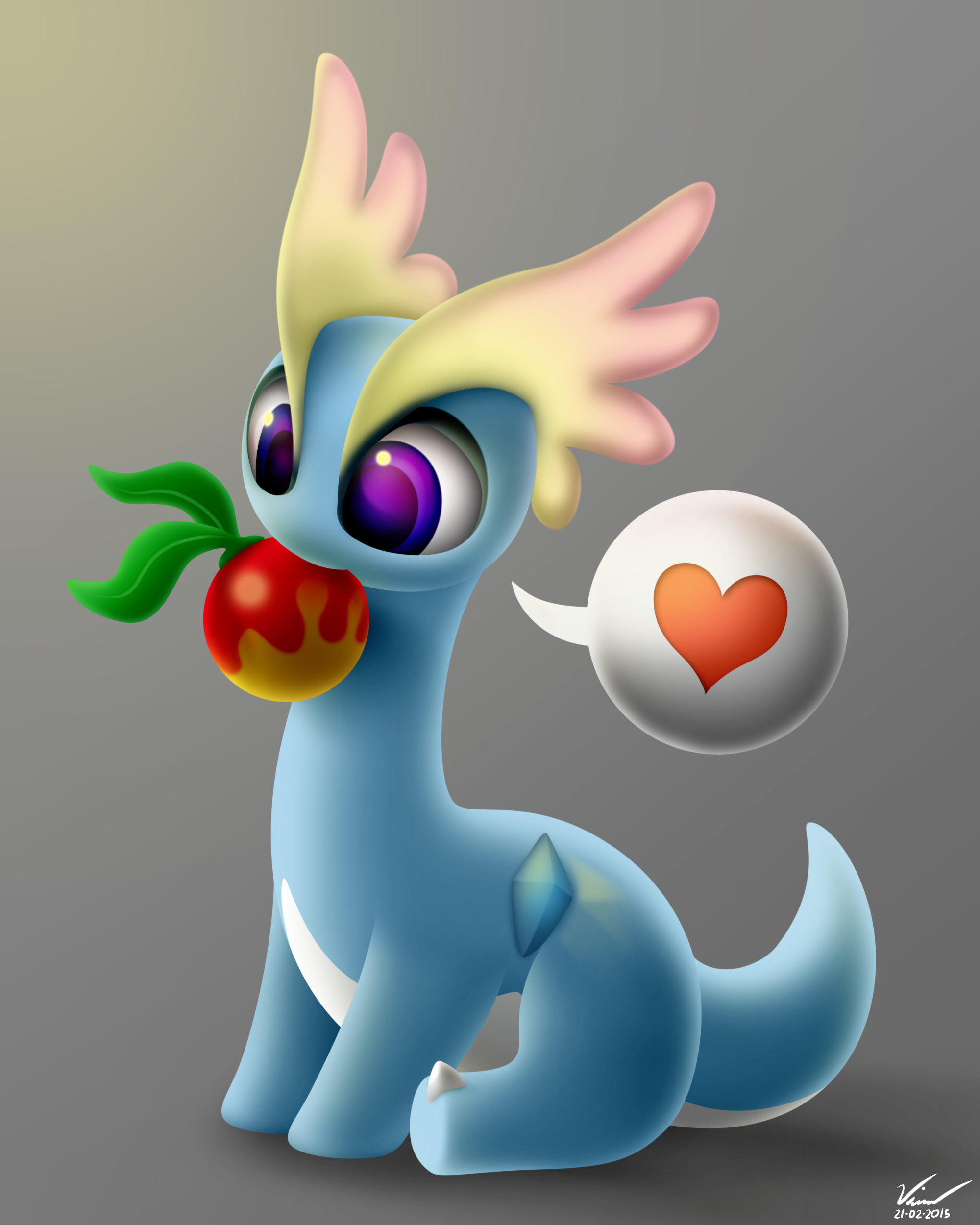 Amaura with a Leppa Berry by SymbianL on DeviantArt.