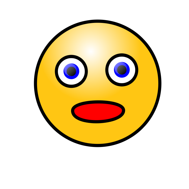 Free Clipart: Emoticons: Amazed face.