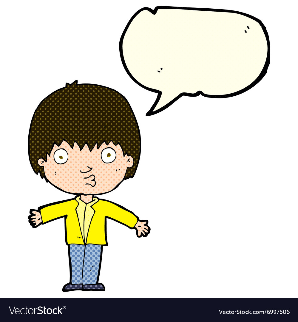 Cartoon amazed boy with speech bubble.