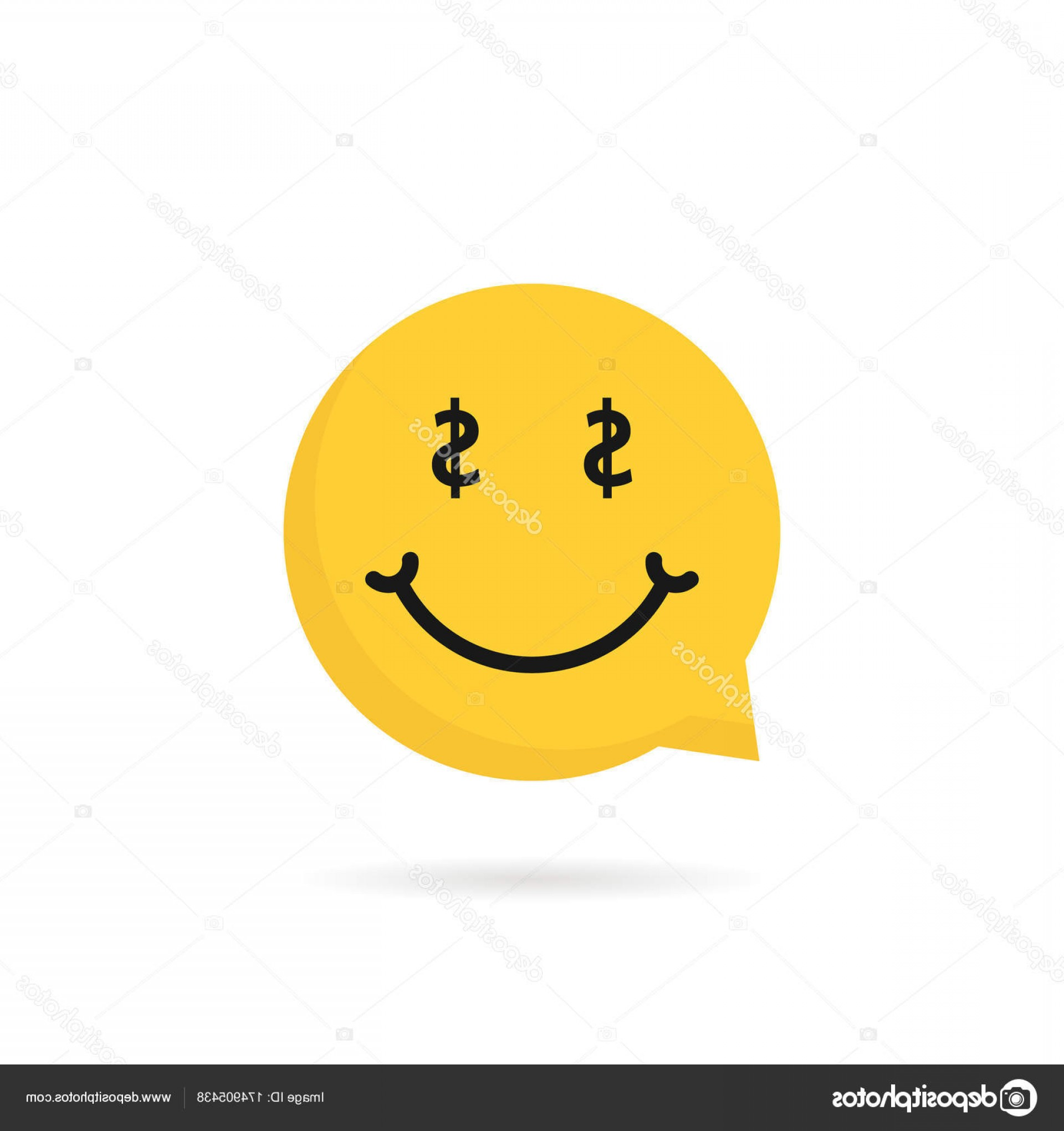 Stock Illustration Wealthy Emoji Speech Bubble Logo.