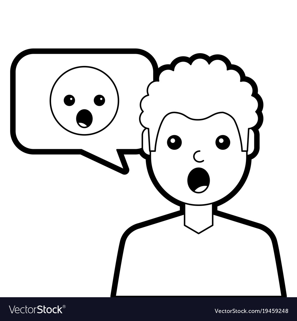 Man with surprised emoticon in speech bubble.