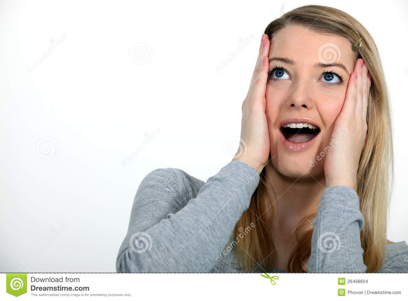 Woman Looking Up In Amazement Stock Images.