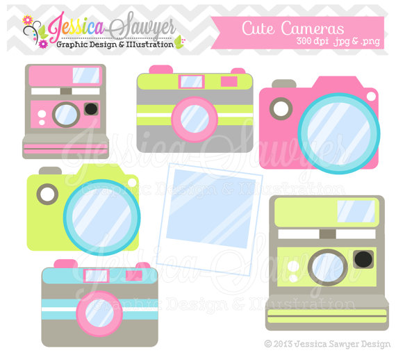 INSTANT DOWNLOAD, cute camera clip art, camera clipart.