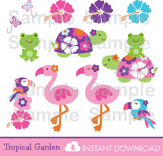 Cute Turtle Cipart / Frog Clipart / Flamingo Clipart / Tropical.