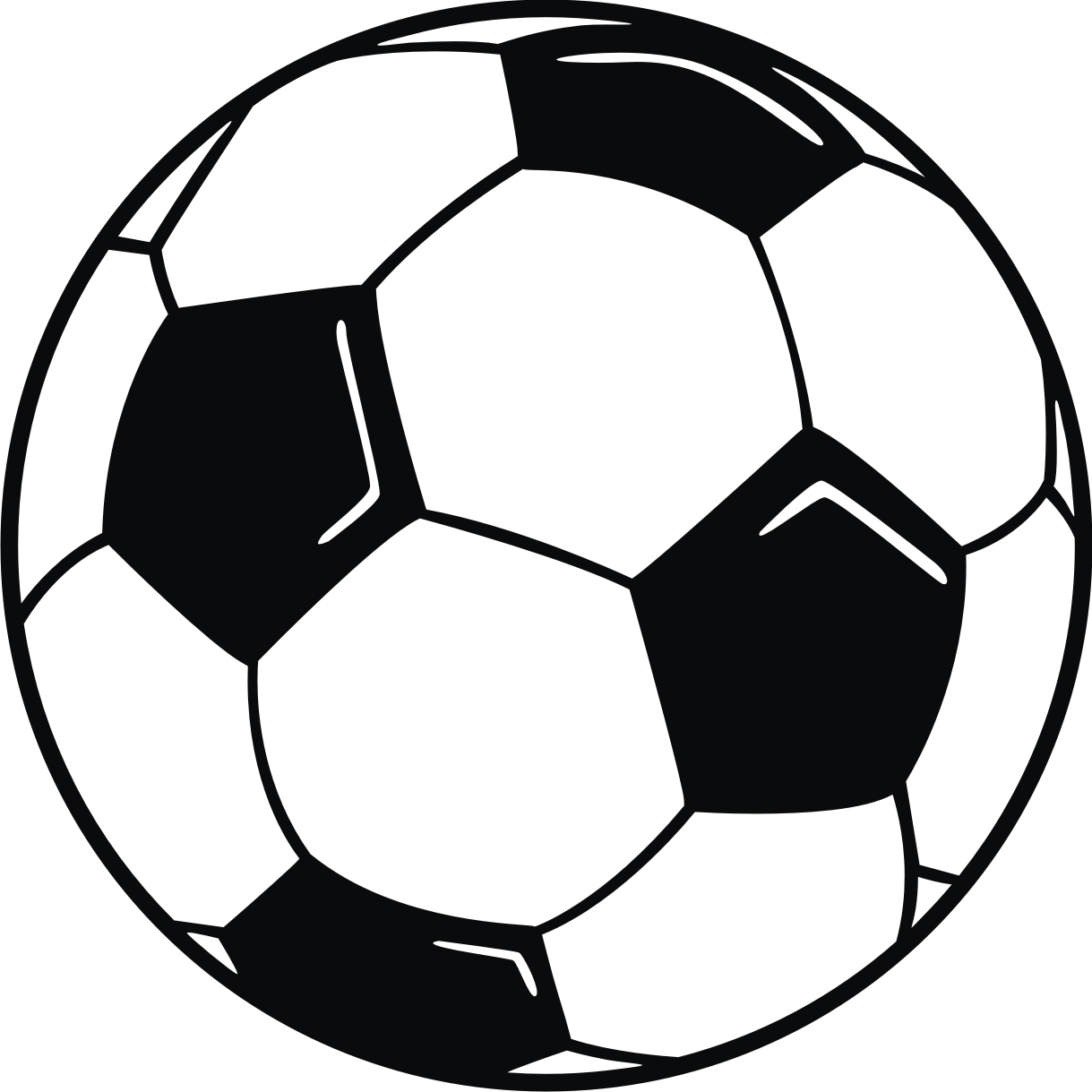 Clip Art: Soccer Ball with hi lights.