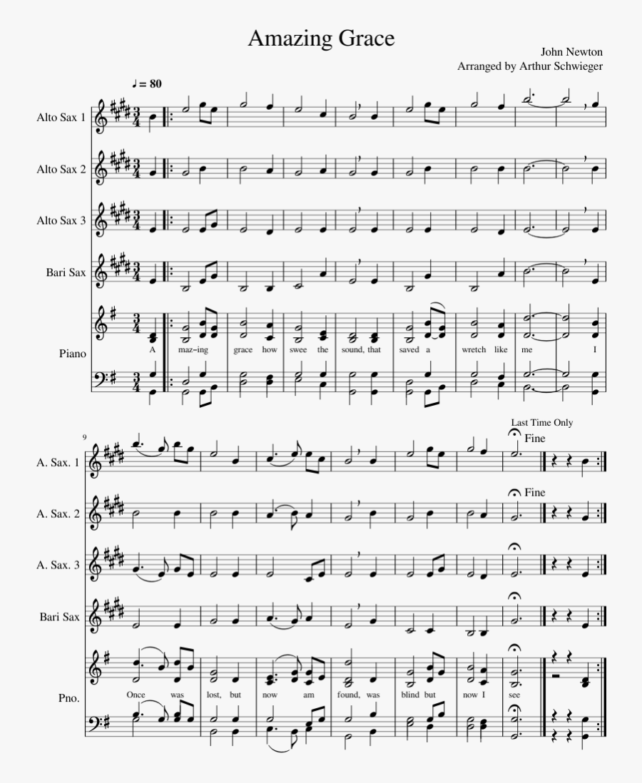 Amazing Grace Sheet Music Composed By John Newton Arranged.