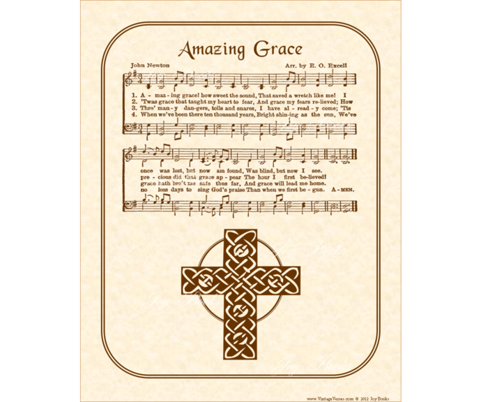 AMAZING GRACE Vintage Verses DIY Print It Yourself Sheet Music Antique Hymn  Wall Art Printable Download Wall Art Parchment Sepia Christian.