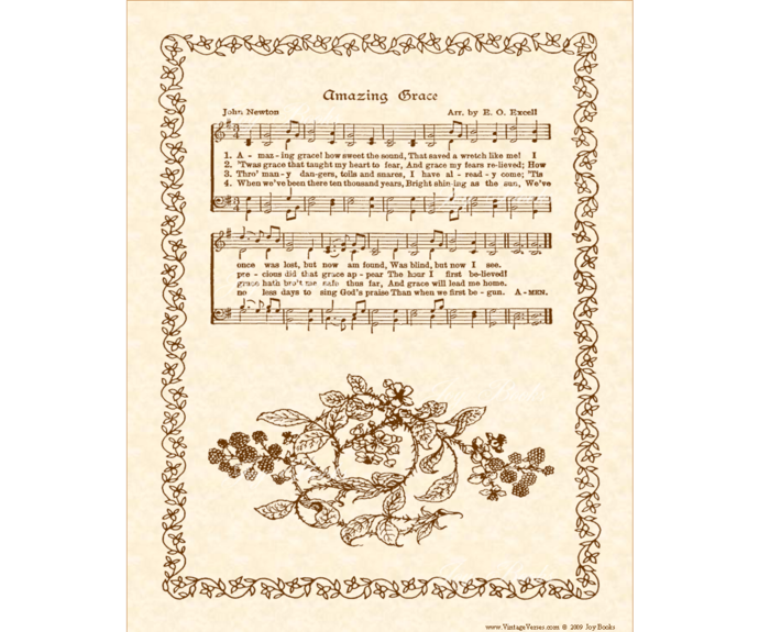 AMAZING GRACE Vintage Verses Sheet Music Wall Art DIY Print It Yourself  Antique Hymn Printable Download Wall Art Parchment Sepia Christian.