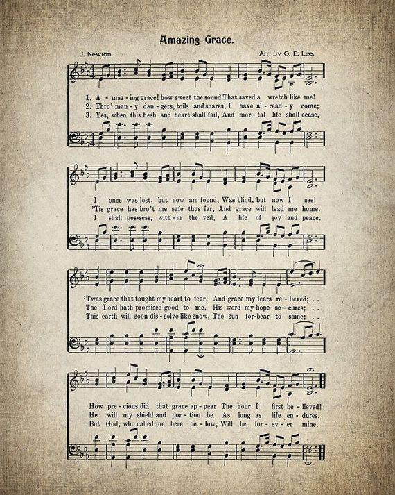 Amazing Grace Hymn Print.