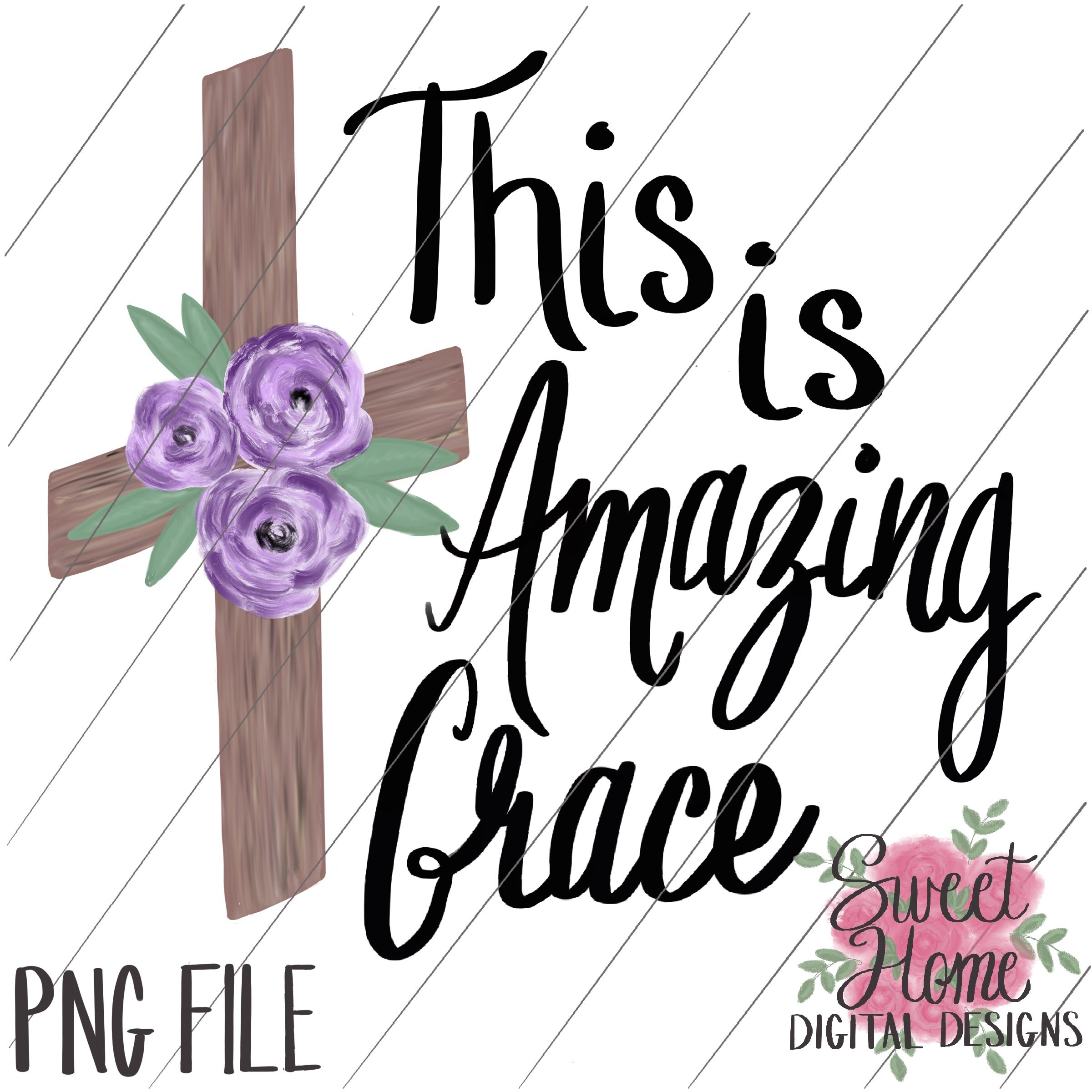 This is Amazing Grace Wood Cross with Purple Floral PNG Printable.