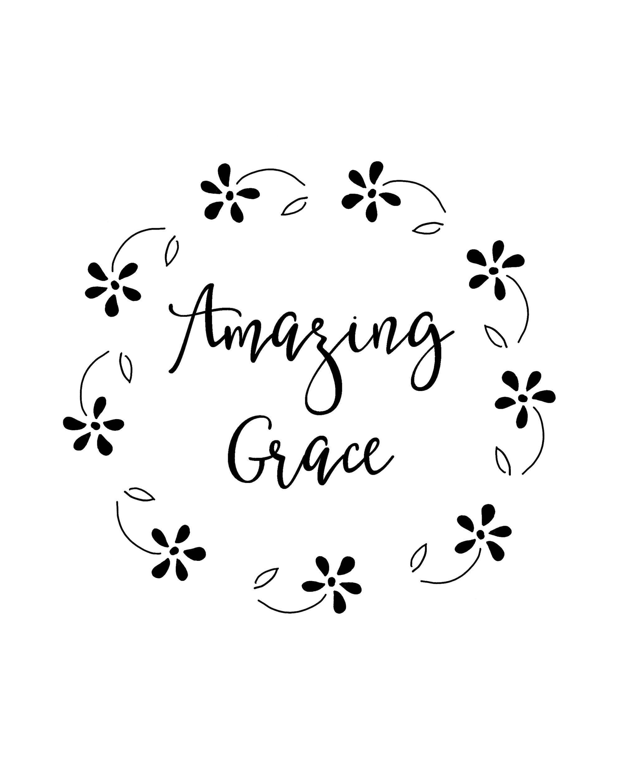 Amazing Grace Hymn Free Printables.