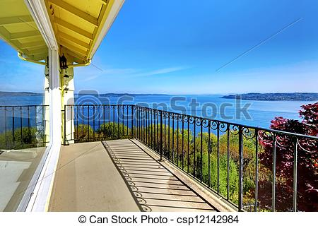 Pictures of House balcony with water amazing view and metal.