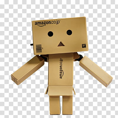 Danbo, Amazon cardboard box robot transparent background PNG.