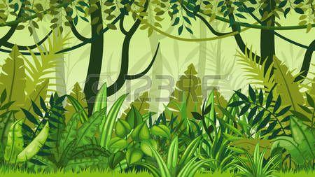 amazon rainforest: Seamless nature jungle cartoon landscape.