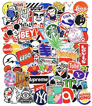 Popular Fashion Brand Stickers for Laptop Teens Water Bottles Skateboard  Car Luggage Motorcycle Bicycle Vinyl Decals 100pcs.