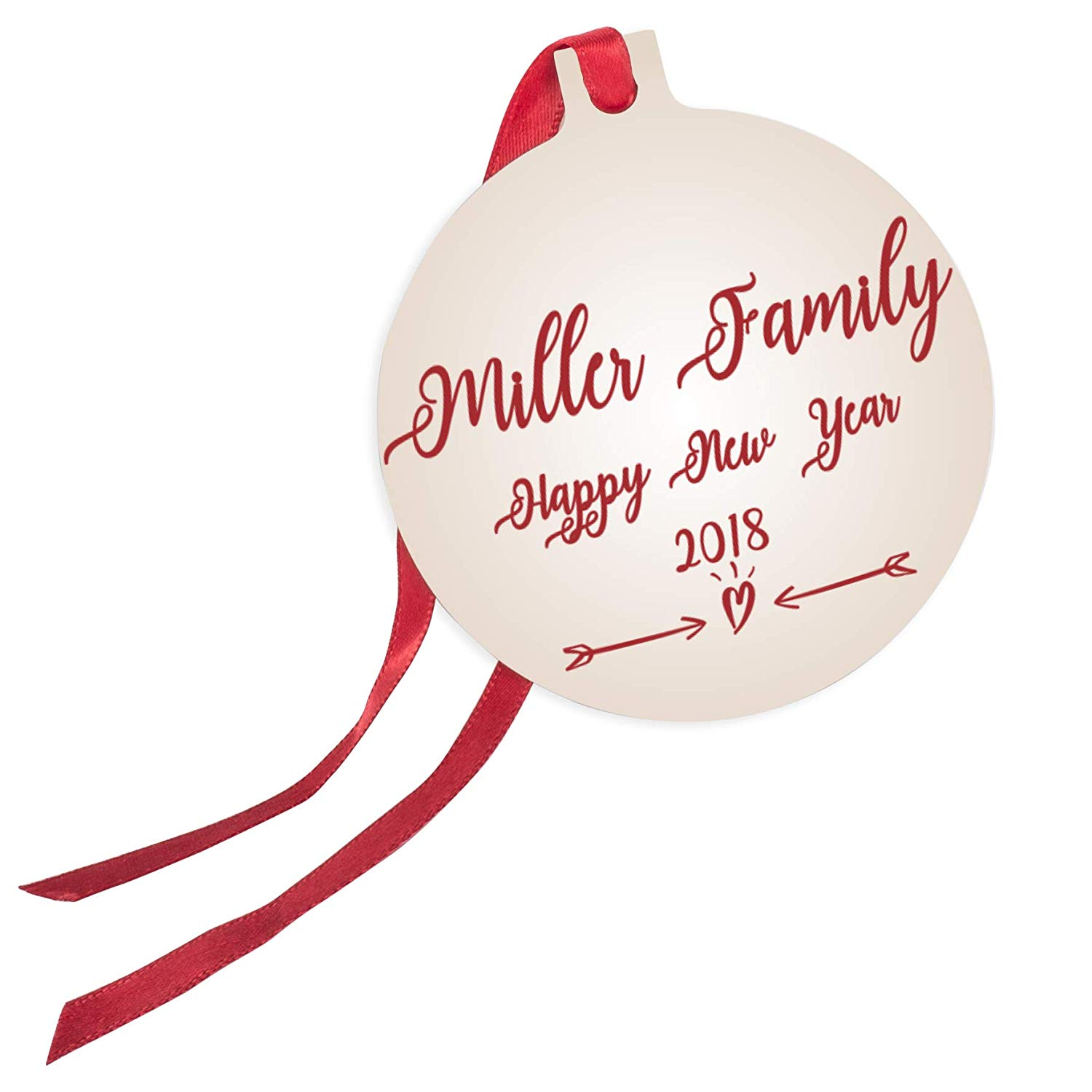 Personalized Christmas Ornaments + Ribbon with Your Family Name or Text.
