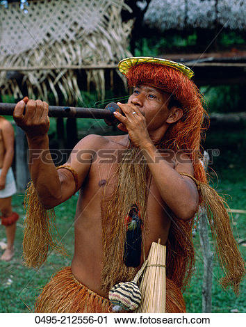 Stock Photography of Peru, Amazon, Iquitos, Young Yagua Indian.