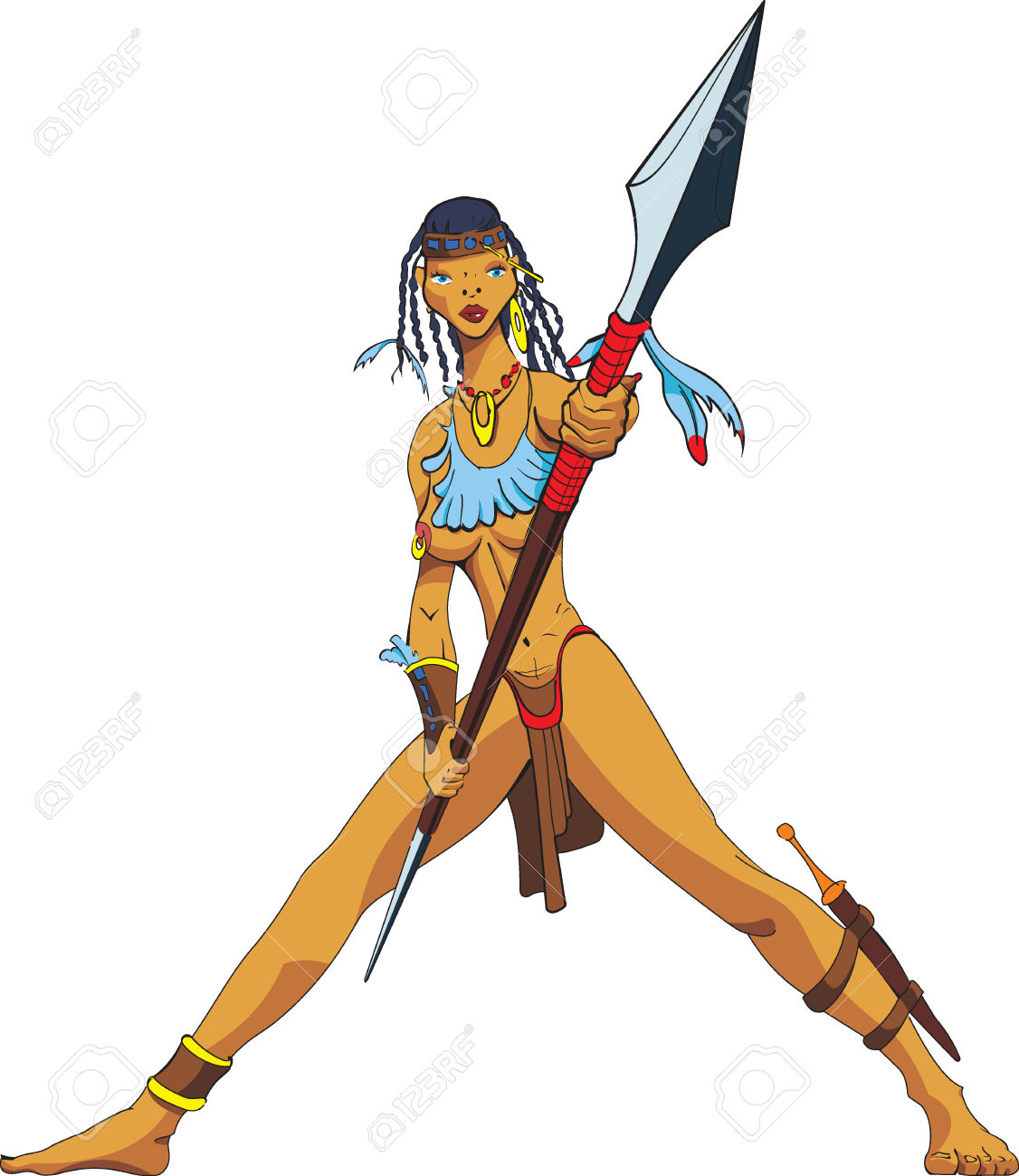 Amazon With A Spear. Royalty Free Cliparts, Vectors, And Stock.