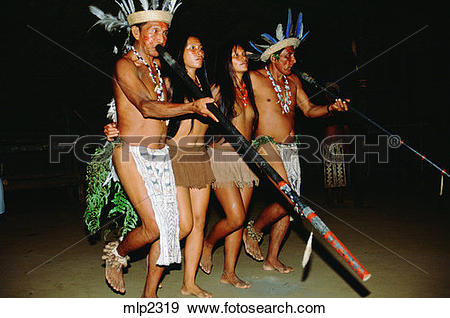 Stock Photograph of Tariano Indians, Ariau River, near the.