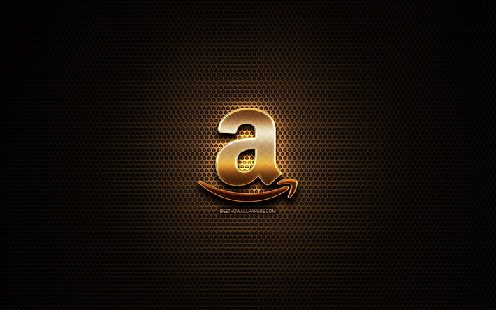 Download wallpapers Amazon glitter logo, creative, metal.