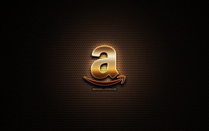 Download wallpapers Amazon glitter logo, creative, metal.