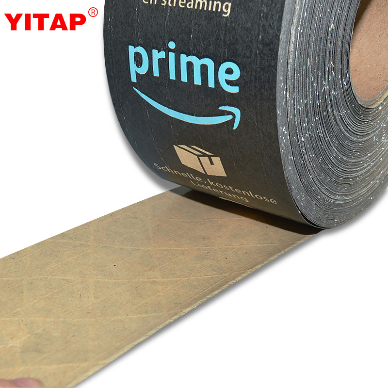 Custom Printing Amazon Prime Black Packing Kraft Paper Tape.