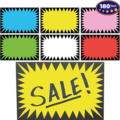 Retail Genius Price Burst 180 Sign Pack. Boost Sales with Bright Display  Tags. Durable, Easy to Write On Star Cards Are Great for Yard, Estate &.