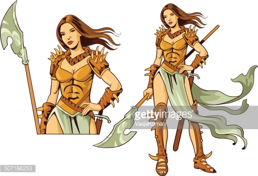 Amazon Warrior Avatar Vector Art.