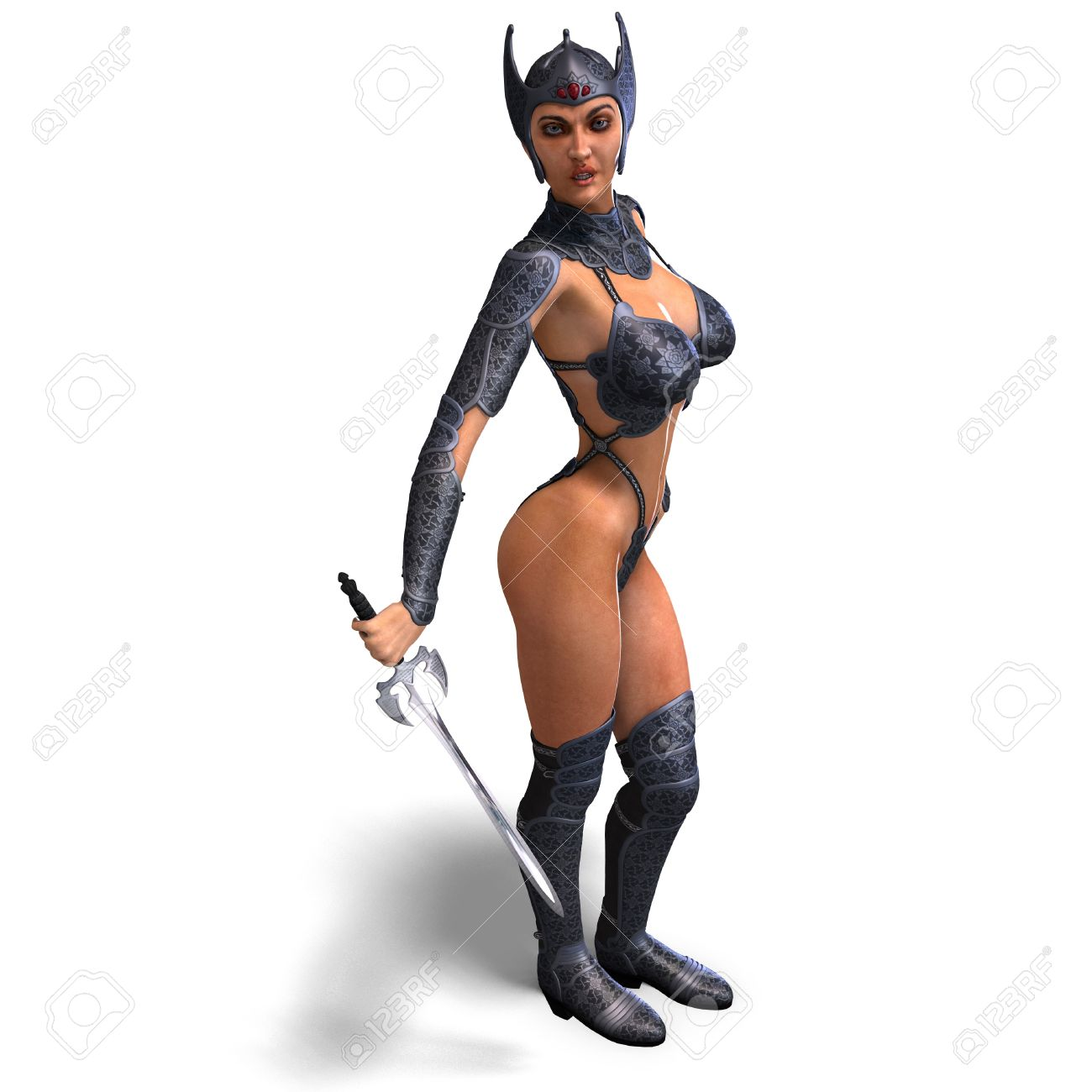 Female Amazon Warrior With Sword And Armor Stock Photo, Picture.