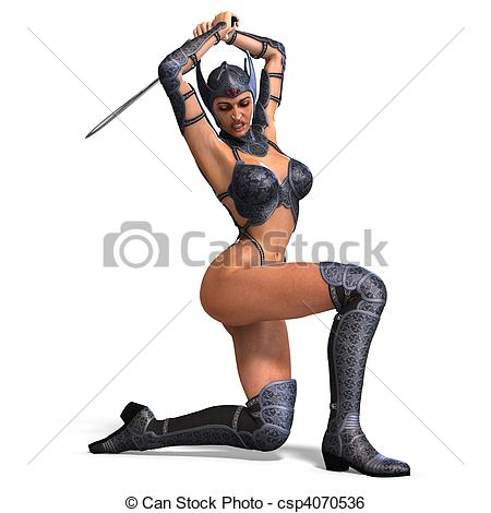 Clipart of female amazon warrior with sword and armor. 3D.